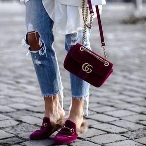 Gucci Princetown velvet fur slippers